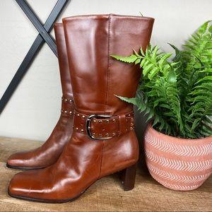 Antonio Melani Studded Buckle Heeled Boots